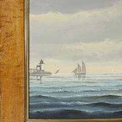 """Salvatore Colacicco Oil on Board """"Portrait of the Side-Wheeler Nantucket"""""""