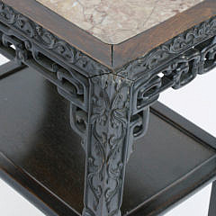 Antique Chinese Teakwood and Marble Inset Rectangular Side Table