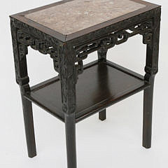 101-4935 Teakwood and marble side Table A_MG_7583