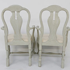 Pair of Swedish Louis XV Style Open Armchairs, 19th Century