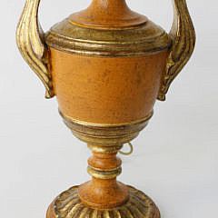 Carved and Gilt Wood Painted Urn Form Lamp
