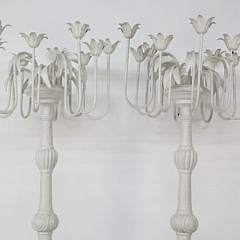 Pair of Antique Swedish White Painted Torchieres