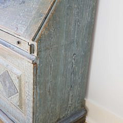 Scandinavian Oak Slant Front Desk in Blue Paint, 19th Century