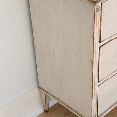 Scandinavian Lime Washed Three Drawer Dresser, 19th Century