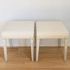 119-4935 Pair of Scandinavian White Washed Upholstered Stools A_MG_7493