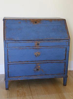 120-4935 Scandinavian Blue Painted Slant Front Oak Desk A_MG_7486