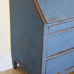 Scandinavian Blue Painted Slant Front Oak Desk, 19th Century