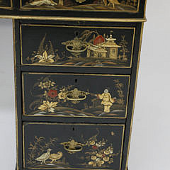Antique Chinoiserie Decorated Kneehole Desk, 19th Century