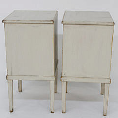 Pair of Antique Scandinavian Lime Washed One Drawer Side Tables