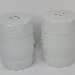 Pair of Blanc De Chine Pierced Porcelain Garden Stools
