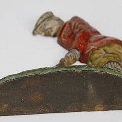 Vintage Hand Painted Cast Iron Golfer Doorstop