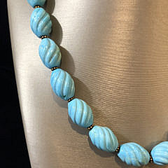 Carved Flourite Bead Necklace