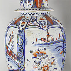 Delft Imari Pattern Ceramic Garniture Set, late 19th Century