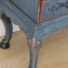 Scandinavian Petite Three Drawer Chest in Blue Paint, 19th Century