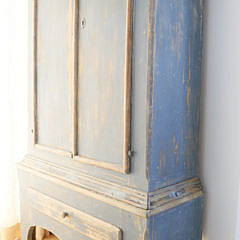 Swedish Gustavian Style Blue Painted Pine Two-Part Dome Top Armoire, 19th Century