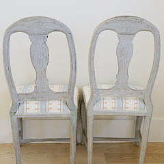 Pair of Swedish Gustavian Style Fiddle Back Side Chairs, 19th Century