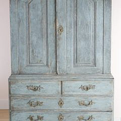 32-4935 18th c. Two Part Green Painted Cupboard A_MG_7262