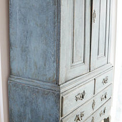 18th Century Continental Two Part Bluish-Green Painted Cupboard