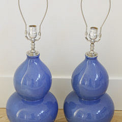 Pair of Cobalt Blue Ceramic Gourd Shaped Lamps