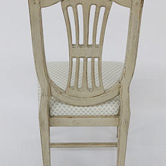 Set of Six Swedish Louis XVI Style Lime Washed Dining Chairs, mid 19th Century