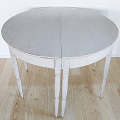 Pair of Scandinavian Lime Washed Demi-Lune Tables, mid 19th Century