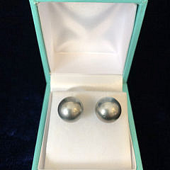 Pair of 11mm Tahitian South Sea Pearl Earrings