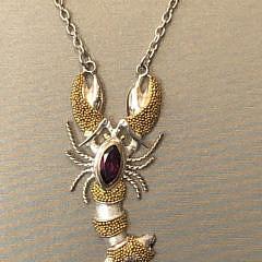 Sterling Silver & 22k Gold Vermeil Amethyst Lobster Pendant Necklace