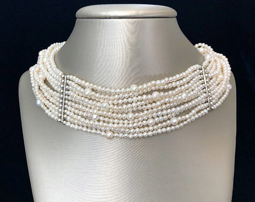 40885 10-Strand White Pearl Necklace A IMG_5515