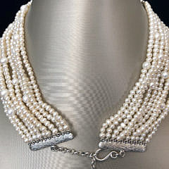 10-Strand 6mm-3mm White Fresh Water Pearl Necklace