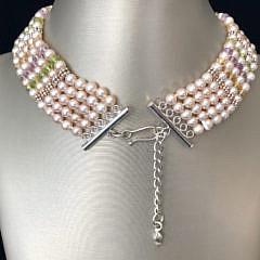 5-Strand Fresh Water Pearl, Peridot, Citrine, Amethyst Necklace