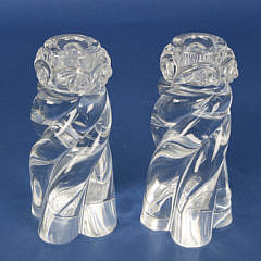 Pair of Signed Baccarat Crystal Barley Twist Candlesticks