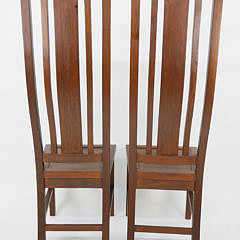 Pair of Contemporary Teak High Back Hall Chairs