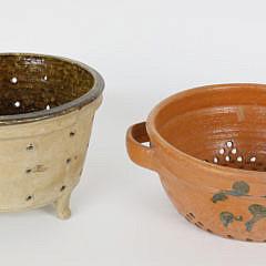 Two Antique Swedish Ceramic Colanders