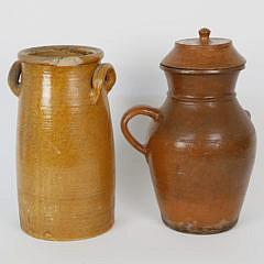 Antique Swedish Red and Orange Glaze Crock and Jug, 19th  Century