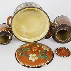 German Decorated Ceramic Covered Teapot, Creamer and Tureen, circa 1900