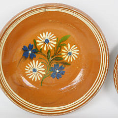 Two Antique Swedish Floral Painted Ceramic Shallow Basins, circa 1890
