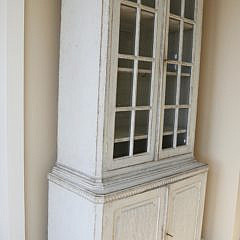 Continental Lime Washed Two-Part China Cabinet, 19th Century