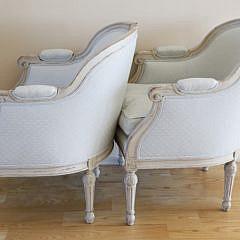 Pair of Swedish Upholstered Bergeres, 19th Century