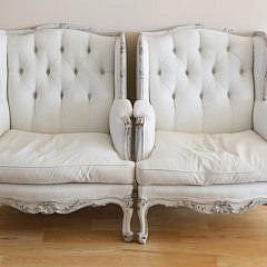 82-4935 Pair of Upholstered Tufted Back Bergeres A_MG_7437