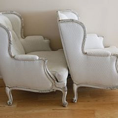 Pair of Continental Upholstered Tufted Bergeres