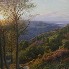 "Peder Mork Monsted Oil on Canvas ""View from Himmelbjerget"", circa 1926"