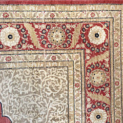 Hand Knotted Wool Indian Persian Kashan Carpet