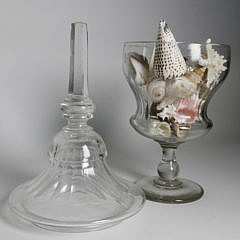 19th Century Covered Crystal Urn Accompanied by Two Glass Covered Urns
