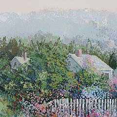 "Kerry Hallam Triptych ""Nantucket Dirt Lane"""