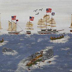 "Jack Derosa Oil on Canvas ""Nantucket Whaling Fleet"""