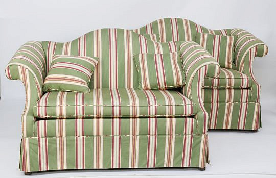 20-4905 Pair Striped Upholstered Camelback Settees A_MG_8201