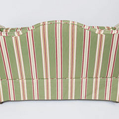 Pair of Candy Striped Upholstered Camelback Settees