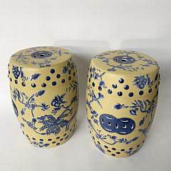 2374-955 Pair of Yellow and Blue Garden Stools A IMG_3759