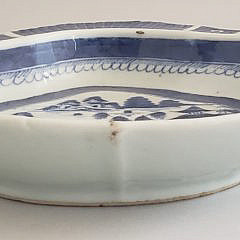 Blue and White Canton Shrimp Dish, 19th Century