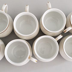 Set of Mottahedeh Portugal Pot-De-Cremes with Serving Tray